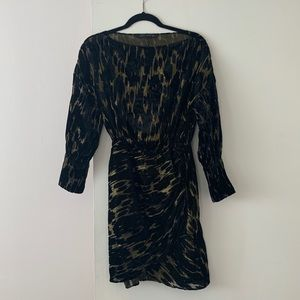 Zara black gold velvet dress